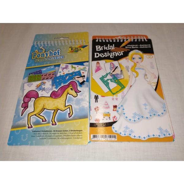 2x Malbuch mit Sticker und Schablone